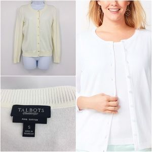 Talbots Women's Charming Cardigan Ivory Sweater S